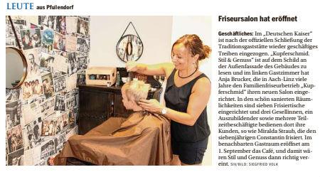 Der Südkurier berichtet über die Eröffnung unseres Friseursalons